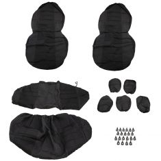 Dickies: ARLINGTON Front Buckets, Rear Bench BLACK Premium TRUCK Seat & Headrest Cover (3 PIECE Set)