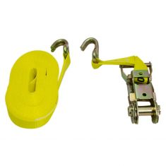 ERICKSON: (1 In x 25 Ft - 3000 Rating) Ratcheting YELLOW Tie-Down Strap w/Hooks