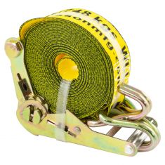 ERICKSON: (2 In x 25 Ft - 5000 LB Rating) Ratcheting YELLOW Tie-Down Strap w/Hooks