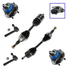 97-09 GM Van  FWD Front Axle Shaft Assys, Outer Tie Rods & Wheel Hubs 6 pc Kit