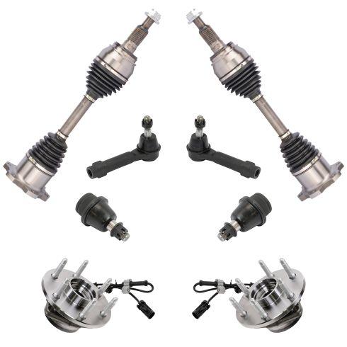 99-07 Silvrdo, Sierra; 00-06 FS SUV 1500 w/4WD Frt CV Axle Shft, Hub, Balljnt, Outer Tie Kit (Set 8)