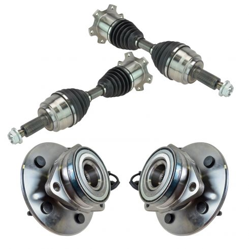 97-00 Ford Expedition; 98-00 Navigator Front CV Axle Shaft & Hub Assembly Kit (4