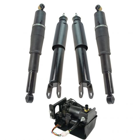 00-06 Chevy GMC Cadillac FS SUV Front Rear Air Shock and Compressor Kit 5pc