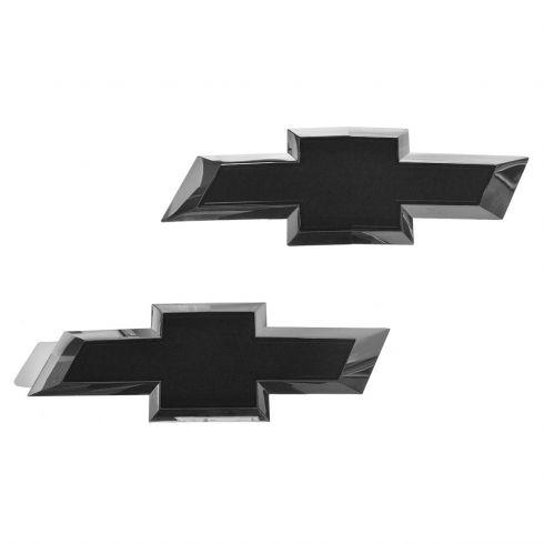 14-15 Chevy Silverado 1500, 2500, 3500 Grille & Tailgate BLACK Bowtie Emblem PAIR (GM)