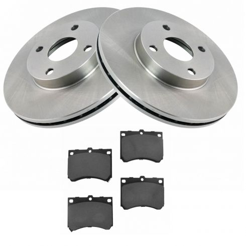 Front Disc Rotors /& Semi-Metallic Brake Pads Fits Mazda Protege