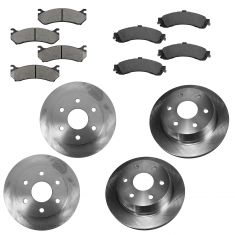 02-05 GM Full Size Truck Front & Rear Rotors Set w/Ceramic Pads