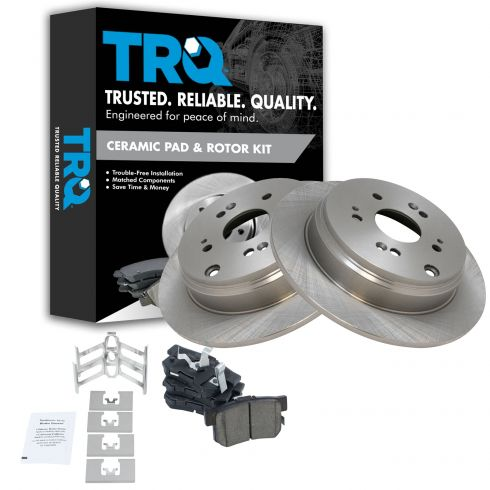Rear Premium Posi Ceramic Disc Brake Pad /& Rotor Kit for Nissan