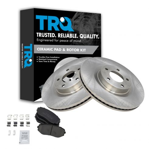 Front Coated Disc Rotors /& Ceramic Brake Pads Fits Ford Lincoln Edge MKX