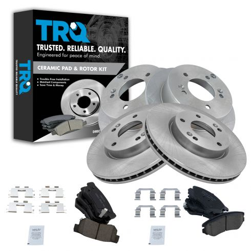 Front /& Rear Premium Posi Ceramic Disc Brake Pad /& Rotor Kit Set for Hyundai Kia