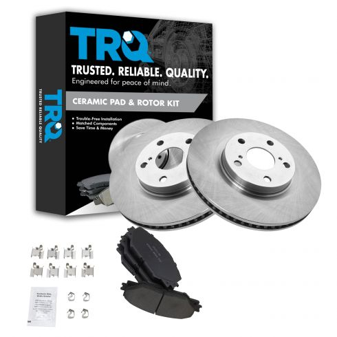Front Brake Disc Rotors /& Ceramic Pads For TOYOTA RAV4 MATRIX VIBE SCION TC