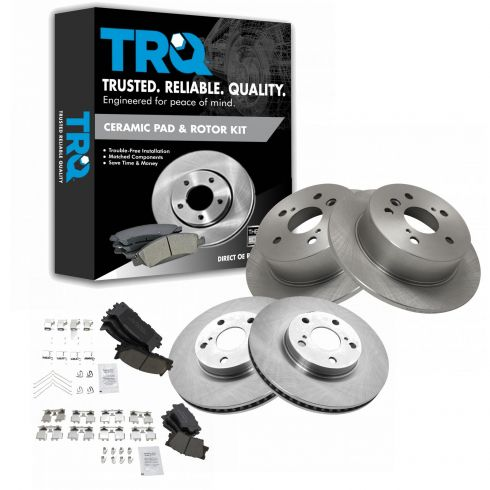 Front and Rear Metallic Disc Brake Pads 2 Complete Set Fits Toyota Camry Avalon