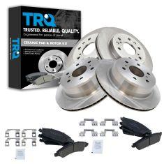 08-12 Cadillac, Chevy, GMC Pickup SUV Multifit Front & Rear Premium Posi Crmc Brake Pad & Rtr Kt