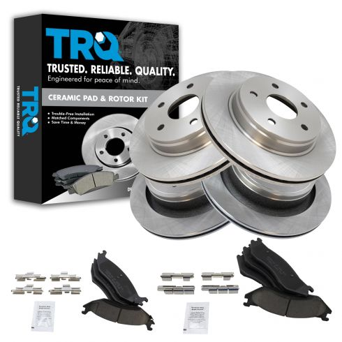 03-05 Dodge Ram 1500 (Exc SRT-10); 03 Ram Van 1500 Front & Rear CERAMIC Brake Pad & Rotor Kit