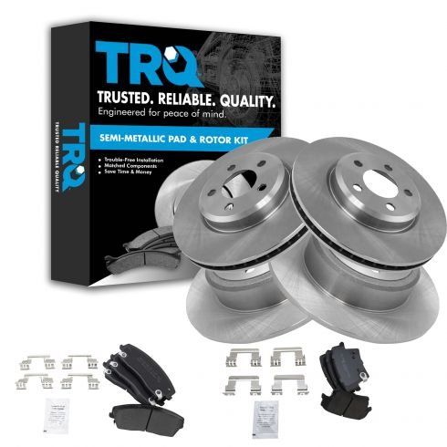 Rear Brake Rotors and Semi-Metallic Pads FOR 2009 2010 2011 DODGE CHALLENGER R//T