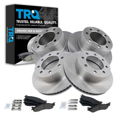 Set of 2 Rotors and 4 Metallic Pads w// 7 Lug Wheel Rear Brake Kit BK1808m