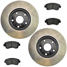 92-96 ES300; 95-97 Avalon; 92-01 Camry; 98-03 Sienna Fr Posi Semi Met Pads & E-Coated Rotor Set