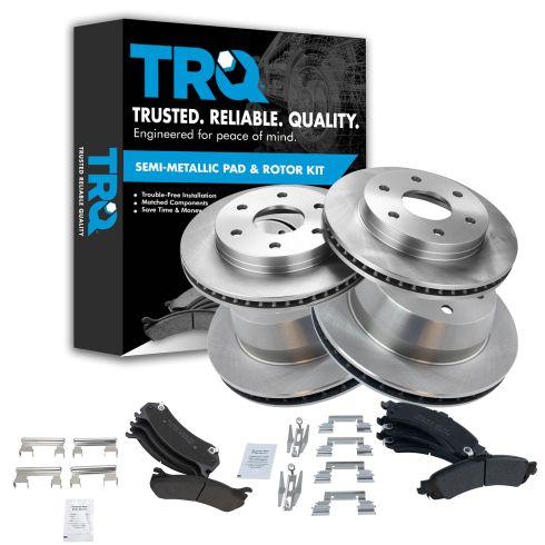 02-05 GM Full Size Truck Front & Rear Rotors Set w/ Premium Posi Semi-Metallic Pads