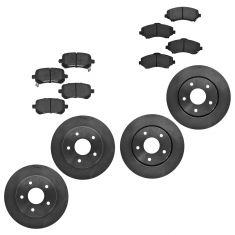 08-10 Town & Country; 09-10 Journey, Routan Front & Rear Semi-Metallic Disc Brake Pad & Rotor Kit