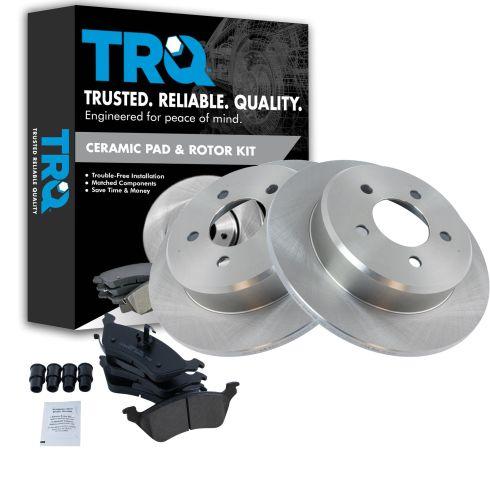 07 Fit Dodge Caravan w//Rear Disc Brake OE Replacement Rotors w//Ceramic Pads F+R