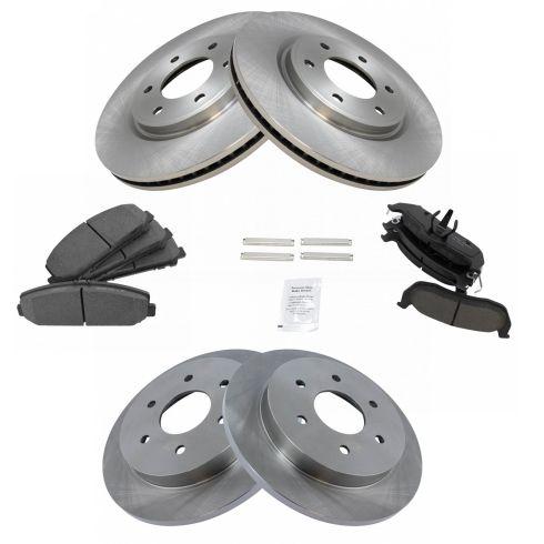Ceramic Brake Pads Fits 2011-2012 Nissan Armada Titan Rear Plain Brake Rotors