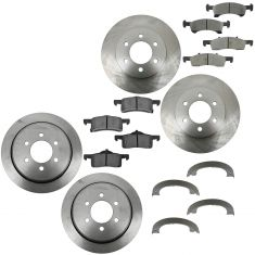 03-06 Ford Expedition; Lincoln Navigator Front & Rear Brake Rotors & Ceramic Pad Kit w/Park Shoe Set