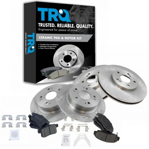 Front And Rear Premium OE Brake Rotors And 8 Ceramic Pads For Acura TSX Accord