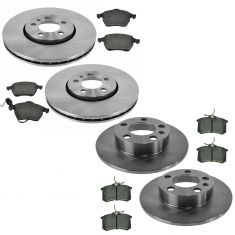 VW Jetta Golf Beetle Front & Rear Semi Metallic Disc Brake Pad & Rotor Kit