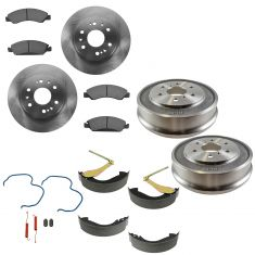 05-08 Silverado Sierra 1500  Front & Rear Posi Semi Metallic Pad Shoe Rotor & Drum Kit