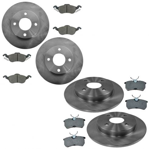 01-04 Focus exc. SVT Front & Rear Premium Posi Semi Metallic Brake Pad & Rotor Kit