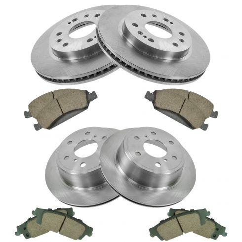 Rear Coated Disc Rotors /& Ceramic Brake Pads Fits Cadillac Chevrolet GMC