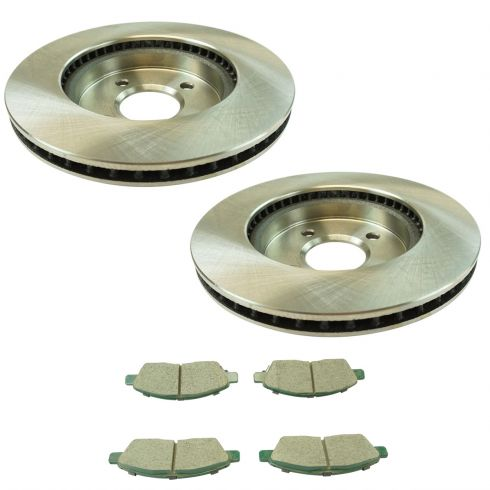 Front OE Disc Brake Rotors And Ceramic Pads For 2012-2015 Nissan Versa
