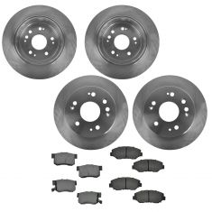 02-04 Honda CR-V Front & Rear Disc Brake Rotors with Premium Posi Matallic Pads
