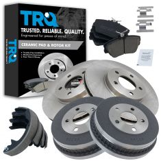 01-07 Taurus; 01-05 Sable Front & Rear Posi Ceramic Brake Pads, Rotors, Drum & Shoe Kit