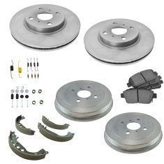 04-06 Scion xA; xB Front & Rear Ceramic Brake Pad Shoe Drum, Hardware, & Rotor Kit (7 Piece Set)
