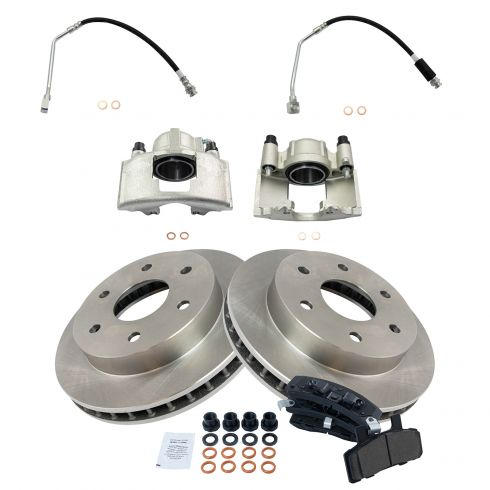Front Disc Brake Caliper Posi Ceramic Pad /& Rotors Kit for Chevy GMC Cadillac