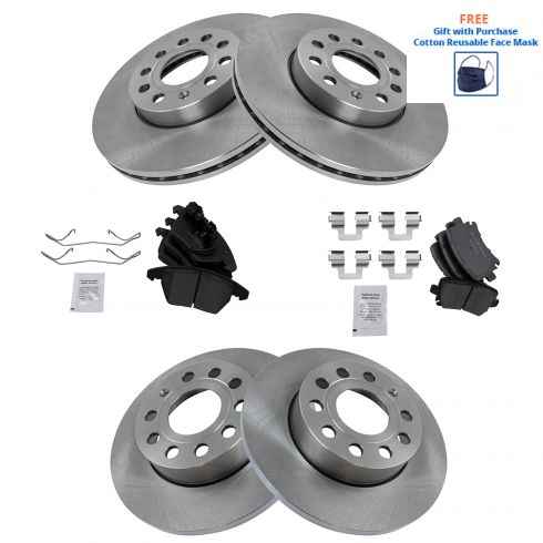 For Audi A3 Quattro VW Beetle Rear Brake Pad Set With Caliper Screws /& Clips