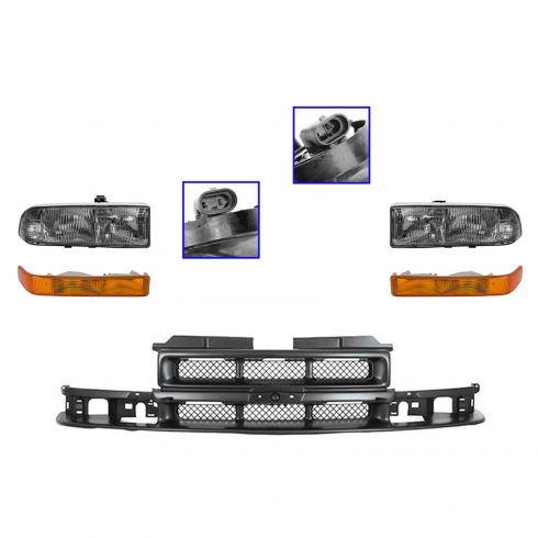 98-05 Chevy S10 Blazer; 98-04 S10 Pickup Grille, Headlight, & Parking Light Kit