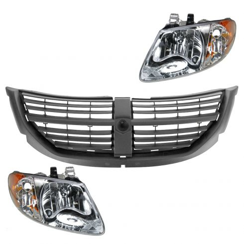 05-07 Dodge Caravan, Grand Caravan Black Grille & Headlight Kit