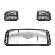 05-07 Ford Super Duty Harley Davidson Front Light and Grille Kit (3 piece)