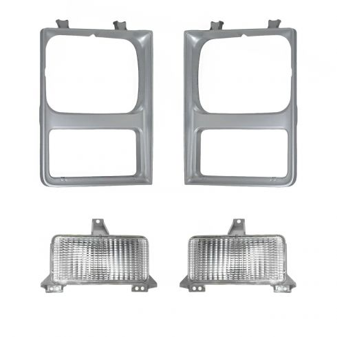 85-88 Chevy Pickup Blazer Suburban Headlight Bezel & Parking Light Kit (4 piece)