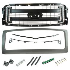 09-14 Ford F150 (FX2, FX4, STX Type) (exc Raptor) PTM Surround w/2 Textured Bars Grille (Ford)