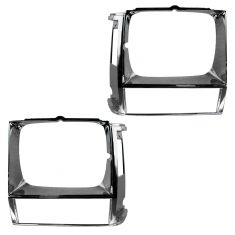84-90 Jeep Cherokee; 86-90 Comanchee; 84-85 Wagoneer Headlight Bezel Chrome Pair