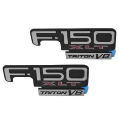 98-04 F150 Fender Mounted Chrome, Black, & Red ~F-150 XLT TRITON V8~ Adhesive Nameplate PAIR (FD)