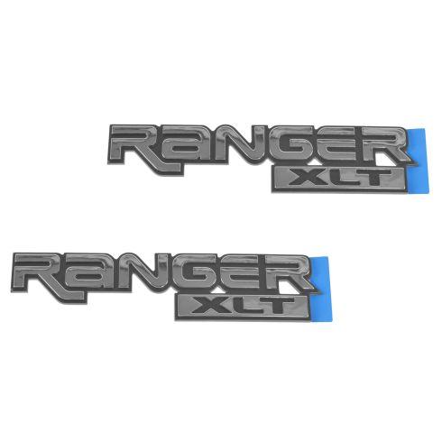 89-05 Ranger XLT Frt Fender Mtd Chrome & Black ~RANGER XLT~ Logoed Adhesive Nameplate Pair (Ford)