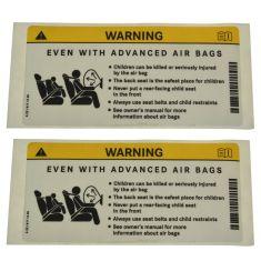 10-14 C, CLS, CLA, E Cnv, E Cpe, R Class Sunvisor Mtd Air Bag Warning Decal Pair (MB)