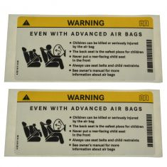 10-14 C, CLS, CLA, E Cnv, E Cpe, R Class Sunvisor Mtd Air Bag Warning Decal Pair (MB)