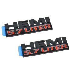 13-15 Ram 1500-3500 Fender Mtd Black & Red ~HEMI 5.7L LITER~ Namplate Emblem PAIR (Mopar)