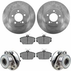 96-07 Taurus; 95-02 Continental; 01-05 Sable Front Hubs, Ceramic Brake Pads, Brake Rotors Kit