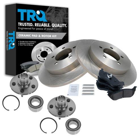 Rear Hub Assembly Ceramic Brake Pad Rotor Bundle for 2002-2005 Ford Explorer