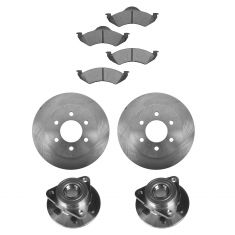 00-02 Dodge Dakota, Durango 4WD ABS Front Hubs, Ceramic Brake Pads, Full Cast Brake Rotors Kit